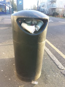 Street bin, full to overflowing, on Sanderstead Hill