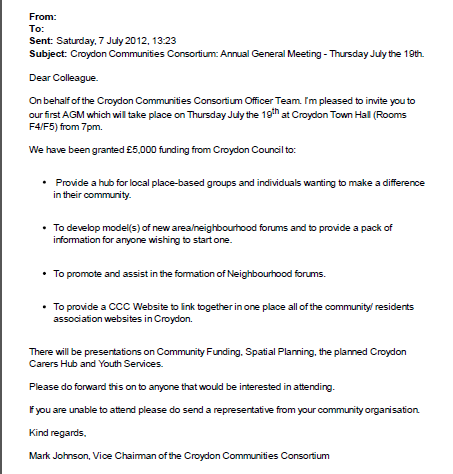 email re CCC AGM