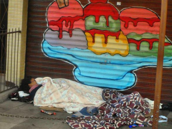 homless person sleeping