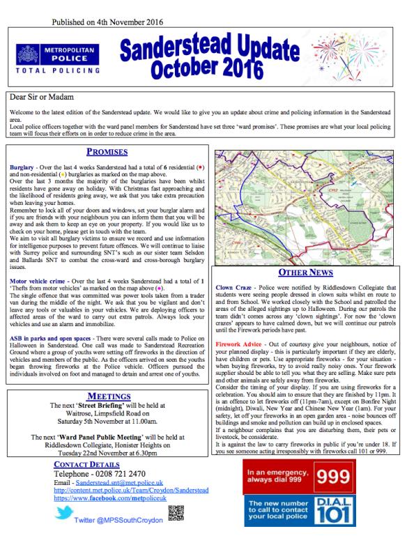 Sanderstead Update Oct16