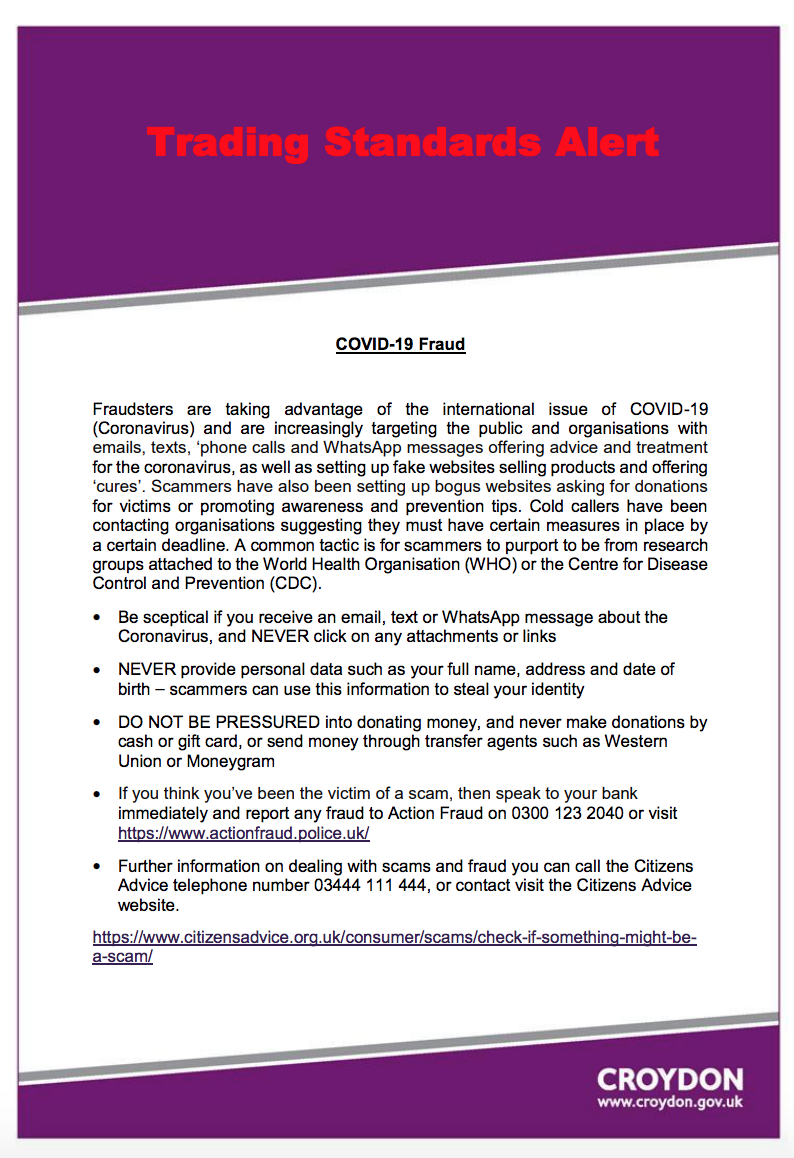 Croydon Trading Standards Warn Of Covid 19 Scams And Fraudsters Ccc